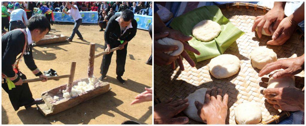 Giã bánh dày dân tộc Mông