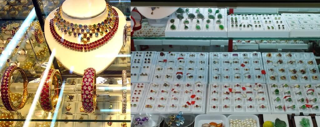 Chợ bán nhiều loại đá quý, trang sức